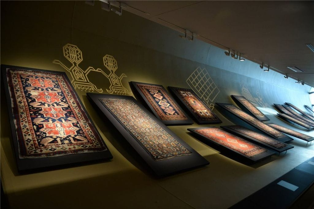 Carpets displayed in the Azerbaijan National Carpet Museum