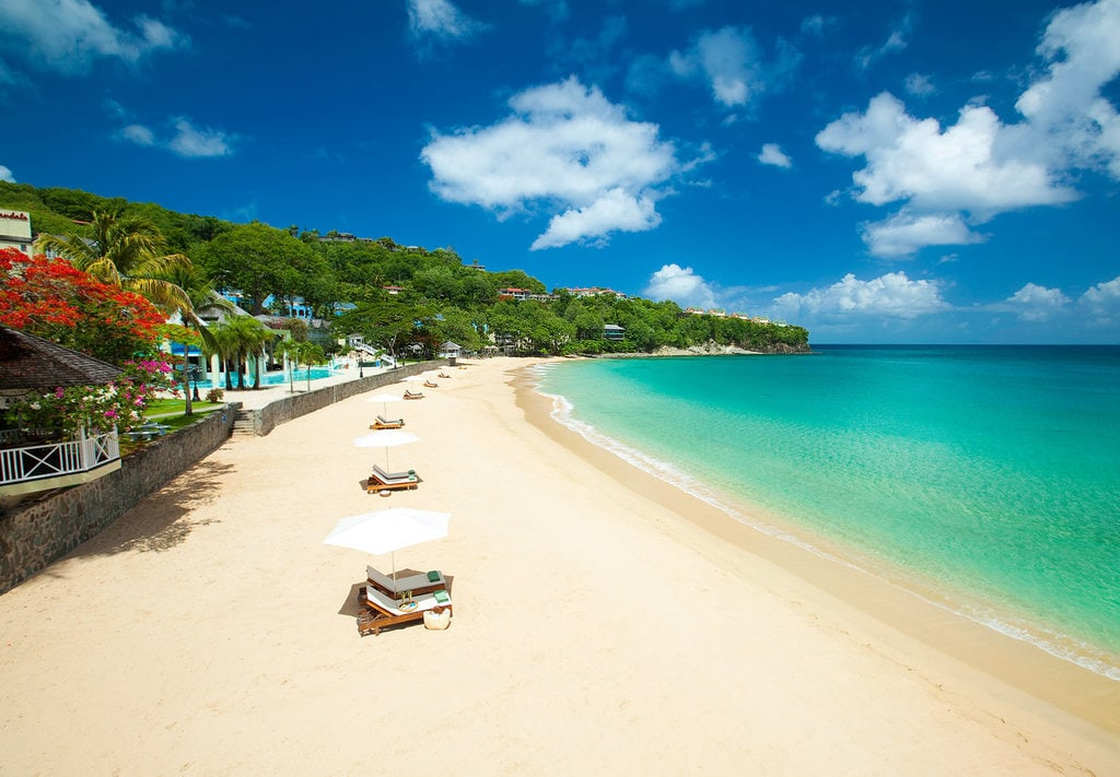 Sand shore in St Lucia
