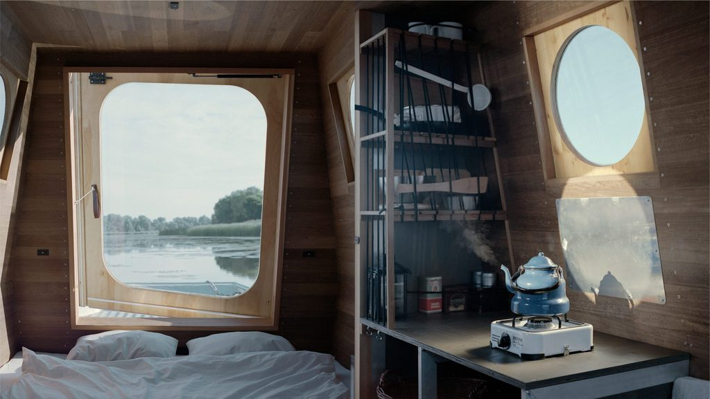 The interior of the houseboat on Lake Tisza