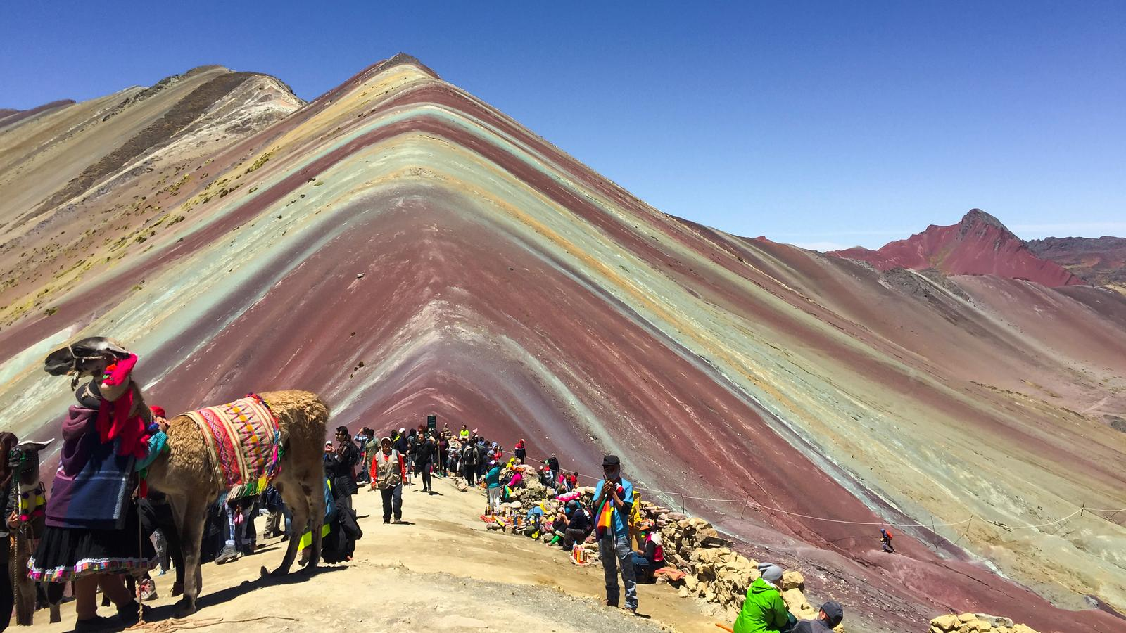 Tourists at the Rainbow Mountain in Peru