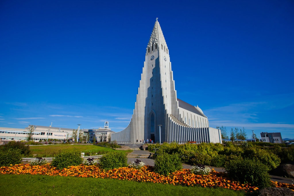 The Lutheran church of Hallgrímskirkja, one of the tallest buildings in Iceland with its 244 ft spire
