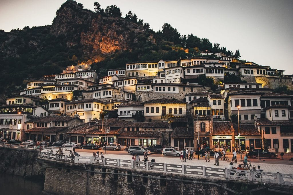River city view of Berat and its buildings, which create the illusion of being watched through 1000 windows