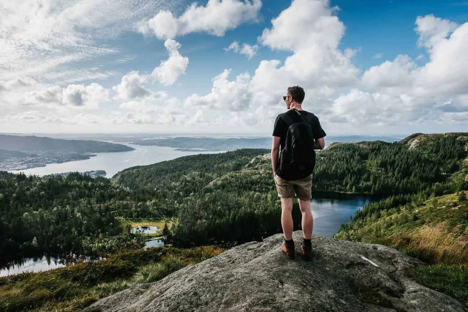 A backpacker alone in the outdoors