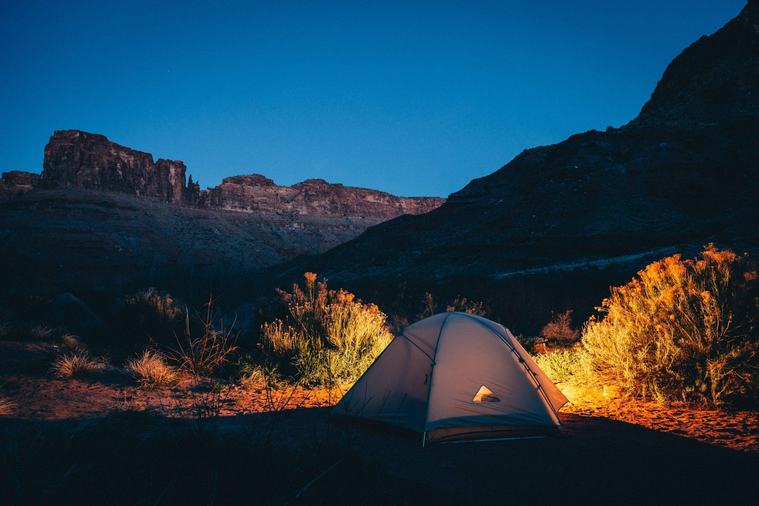 A tent set outdoors